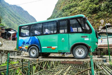 AQUAS CALIENTES, PERU - OCTOBER 2, 2016: Shuttle bus stop in Aquas Calientes to Machu Picchu entrance