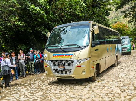 AQUAS CALIENTES, PERU - OCTOBER 2, 2016: Shuttle bus from Aquas Calientes waiting for riders at Machu Picchu entrance