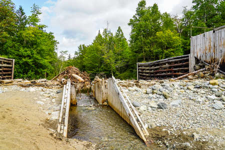 Old Marcy Dam Trial in the High Peaks Wilderness Area of the Adirondack State Park in Upstate New York 版權商用圖片