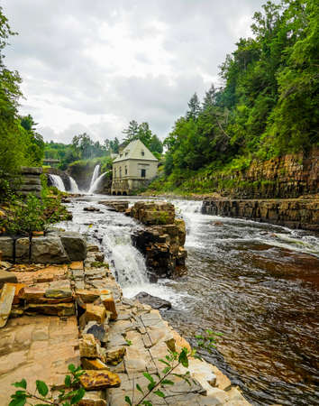 Rainbow Falls at Ausable Chasm in Upstate New York. The gorge is about two miles 3.2 km long and is a tourist attraction in the Adirondacks region of Upstate New York 版權商用圖片