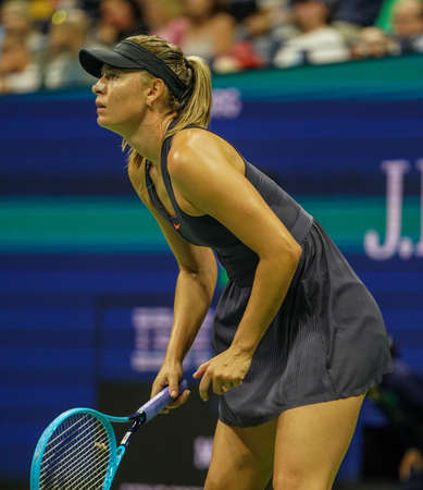 Grand Slam Champion Maria Sharapova of Russia in action during her 2019 US Open first round match against Serena Williams at Billie Jean King National Tennis Center 新聞圖片