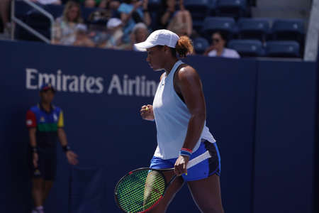 NEW YORK - AUGUST 31, 2019: Professional tennis player Taylor Townsend of United States in action during her 2019 US Open third round match at Billie Jean King National Tennis Center