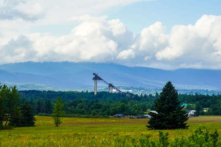 The Lake Placid Olympic Ski Jumping Complex in Lake Placid , New York. Training facility and 90 and 120 meter towers are open to the public to explore