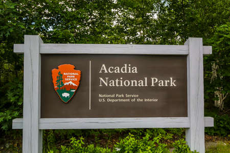 BAR HARBOR, MAINE - JULY 4, 2017: Acadia National Park sign in Maine