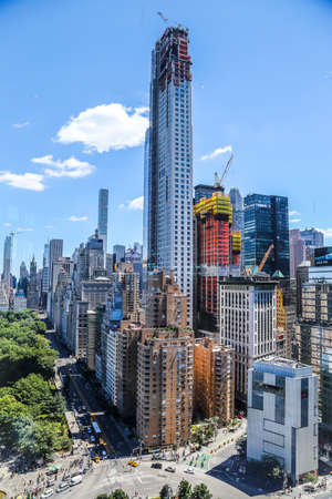 NEW YORK - JULY 30, 2017: Aerial view of Central Park South or East 59th Street in New York City