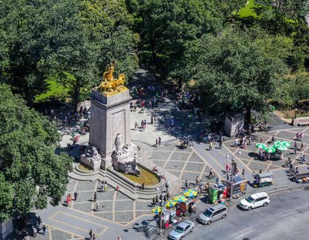 NEW YORK - JULY 30, 2017: Aerial view of The USS Maine Monument, built in 1913, at the southwest corner of Central Park in New York City