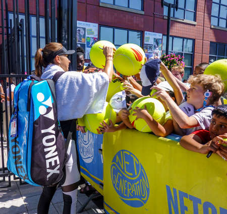 NEW YORK - SEPTEMBER 3, 2019: Professional tennis player Belinda Bencic of Switzerland signs autographs after practice for 2019 US Open at Billie Jean King National Tennis Center in New York