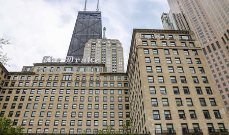 CHICAGO, ILLINOIS  - MAY 24, 2019: The Drake, a Hilton Hotel, luxury, full-service hotel, located downtown on the lake side of Michigan Avenue in Chicago, Illinois Редакционное