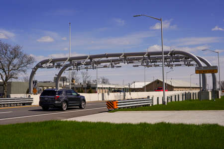 BROOKLYN, NEW YORK - APRIL 1, 2020: Cashless toll station at the Marine Parkway - Gil Hodges Memorial Bridge in Brooklyn, New York