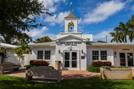 PALM BEACH SHORES, FLORIDA - MARCH 30, 2019: Town of Palm Beach Shores Town Hall in Florida