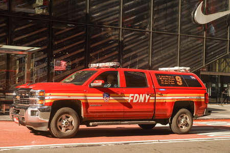 NEW YORK - NOVEMBER 5, 2020: New York City Fire Department Battalion 9 arriving on scene of an incident in midtown Manhattan. FDNY is the largest combined Fire and EMS provider in the world