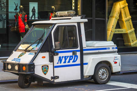 NEW YORK - NOVEMBER 5, 2020: NYPD Interceptor Scooter providing security in midtown Manhattan. The New York Police Department, established in 1845, is the largest police force in USA