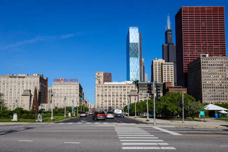 CHICAGO, ILLINOIS - MAY 23, 2019: Downtown Chicago view of South Columbus Drive 新闻类图片
