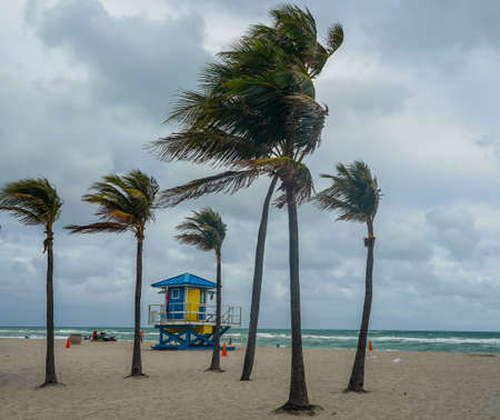 Hollywood Beach Lifeguard Station in South Florida. The promenade along the beach lined with palm trees and resorts is a popular tourist destination in Br