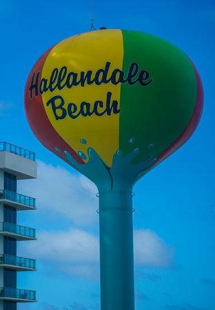 HALLANDALE BEACH, FLORIDA - DECEMBER 31, 2020: Hallandale Beach Water Tower in South Florida. Hallandale Beach is a city in Broward County, Florida