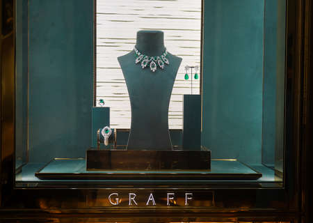 BAL HARBOUR, FLORIDA - DECEMBER 31, 2020: Graff jewellery on display at the Bal Harbour Shops, an open-air shopping mall in Bal Harbour, a suburb of Miami, Florida
