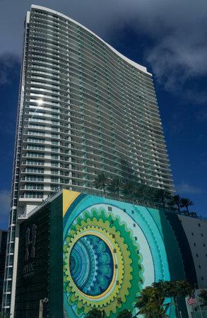 HALLANDALE BEACH, FLORIDA - DECEMBER 31, 2020: Hyde Resort and Residences at Hallandale Beach in South Florida. Hallandale Beach is a city in Broward County, Florida Sajtókép