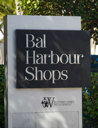 BAL HARBOUR, FLORIDA - DECEMBER 31, 2020: Bal Harbour Shops, an open-air shopping mall in Bal Harbour, a suburb of Miami, Florida, known internationally for its retail