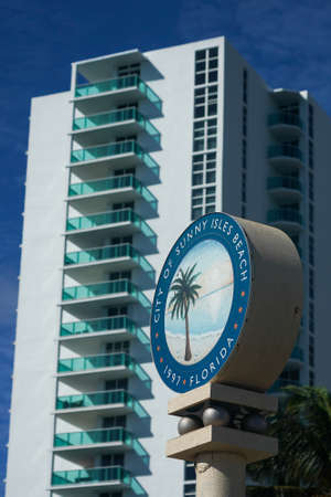 SUNNY ISLES BEACH, FLORIDA - DECEMBER 31, 2020: City of Sunny Isles Beach sign. Sunny Isles Beach is a city located on a barrier island in northeast Miami-Dade County, Florida, United States