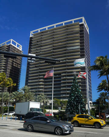 BAL HARBOUR, FLORIDA - DECEMBER 31, 2020: Famous Collins Avenue in front of Bal Harbour Shops, an open-air shopping mall in Bal Harbour, a suburb of Miami, Florida Editorial