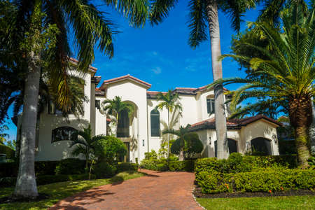 GOLDEN ISLES, FLORIDA - DECEMBER 31, 2020: Luxury home at Golden Isles neighborhood in Hallandale Beach, Florida