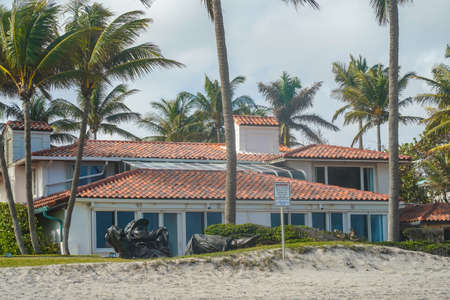 GOLDEN BEACH, FLORIDA - JANUARY 1, 2021: Luxury ocean front home at Golden Beach in South Florida. Golden Beach is a town located in the northeast corner of Miami-Dade County, Florida