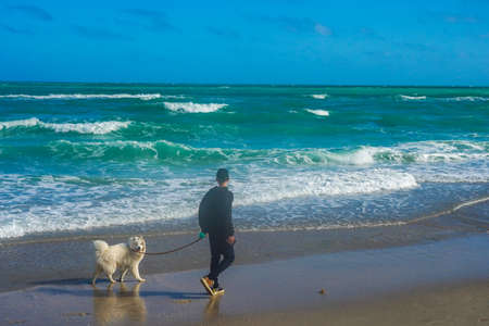 HALLANDALE BEACH, FLORIDA - JANUARY 1, 2021: Hallandale Beach in South Florida. Hallandale Beach is a city in Broward County, Florida