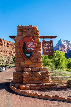 SPRINGDALE, UTAH - SEPTEMBER 24, 2014: Entrance sign Zion National Park in Utah Sajtókép