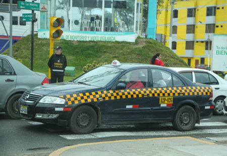LIMA, PERU - SEPTEMBER 30, 2016: Local taxi cab in Lima, Peru