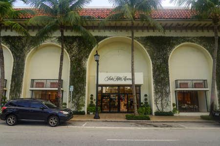 PALM BEACH, FLORIDA - OCTOBER 28, 2020: Saks Fifth Avenue store at Worth Avenue in Palm Beach, Florida. Saks Fifth Avenue is an American luxury department store
