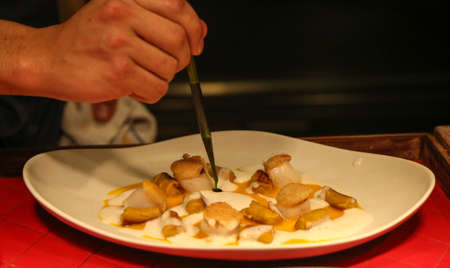 Chef cooking in a Michelin Star restaurant