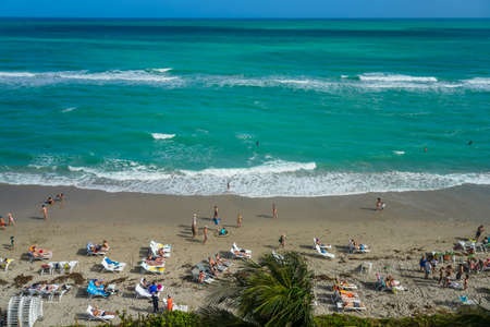 Aerial view of Hallandale Beach from highrise luxury condominium. Hallandale Beach is a city in Broward County, Florida