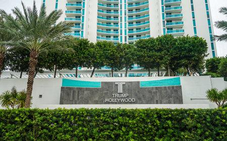 HOLLYWOOD BEACH, FLORIDA - DECEMBER 30, 2020: The Trump Hollywood luxury oceanfront condominium in Hollywood Beach, Florida Sajtókép