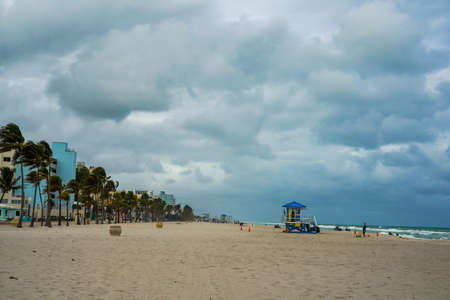 Hollywood Beach in South Florida. The promenade along the beach lined with palm trees and resorts is a popular tourist destination in Broward County