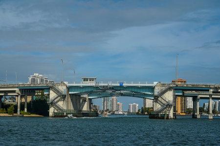 NORTH MIAMI BEACH, FLORIDA - JANUARY 2, 2021: NE 163rd St Intracoastal Waterway Drawbridge in Sunny Isles, Florida Editorial