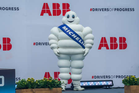 BROOKLYN, NEW YORK - JULY 11, 2021: Bibendum, commonly referred to in English as the Michelin Man or Michelin Tyre Man, is the official mascot of the Michelin tire company