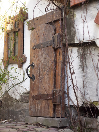 threshold: Threshold of the house with an old wooden door.
