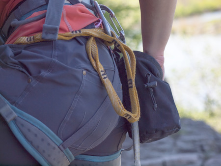 weighs: Gear for climbing weighs a safety system. Stock Photo