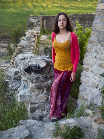 average age: A woman dressed in Oriental style stands in the castle.