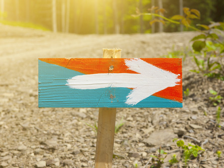 wooden trail sign: A wooden sign with a picture of an arrow stands in the forest. Stock Photo