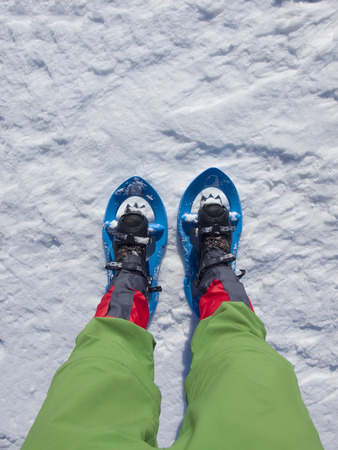 snowshoes: Snowshoes for walking on soft snow in the mountains.