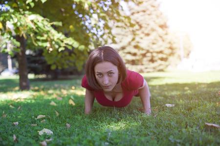 sociability: Girl doing yoga in the early morning.