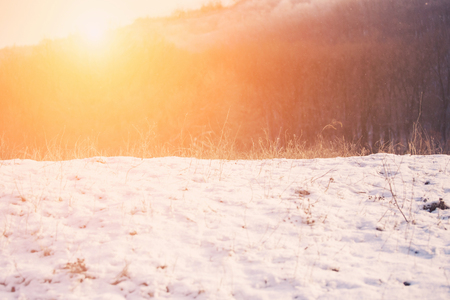 snow clearing: Snow clearing in the rays of the bright sun. Stock Photo