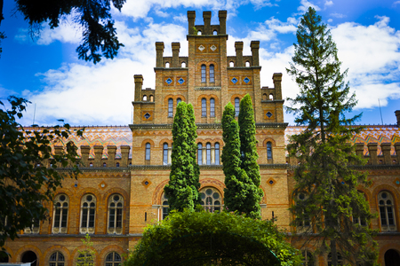 campus tour: Chernivtsi National University building, listed in UNESCO World Heritage Site. Ukraine. Editorial