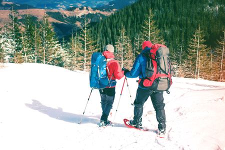 Two climbers are in the mountains in the winter against snow-covered fir trees, climbing two men with backpacks. Imagens
