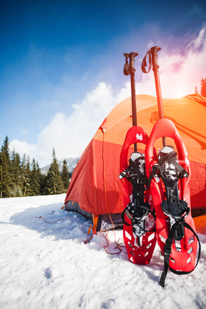 cold: snowshoes on snow near an orange tent. equipment for the winter hike. outdoor activities in the forest.