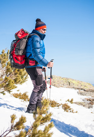 Man with trekking poles goes up in the mountains in winter, the climber with a backpack walking on snow on a Sunny day on the background of blue sky. Stock Photo