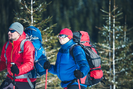 Two climbers in snowshoes are in the mountains in the winter against fir trees, climbing two men with backpacks. A climber with trekking sticks walks through the snow. Climbing in winter. Stock Photo