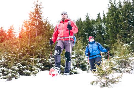 Dois alpinistas em raquetes de neve estão nas montanhas no inverno contra abetos, escalando dois homens com mochilas. Um alpinista com bastões de trekking atravessa a neve. Escalando no inverno. Foto de archivo - 92061054