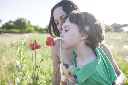 A boy is looking at a flower. A child with her mother is sniffing wildflowers. A woman with a baby is picking up poppies in a field. Portrait of woman and child in a meadow.